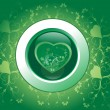 Floral green background with heart — Imagen vectorial