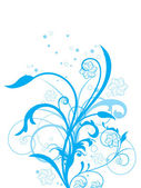 Blue floral with white background — Stock Vector