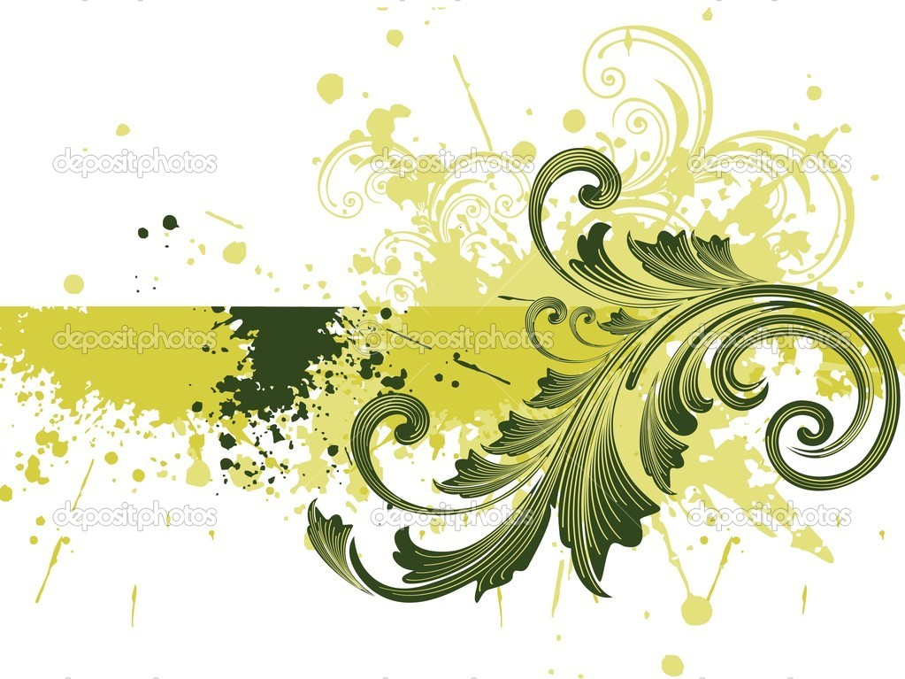 Green grunge with beautiful filigree pattern, vector illustration — Stock Vector #2620561