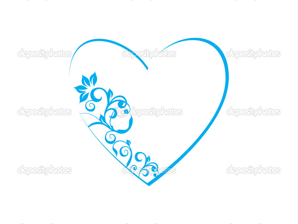 Floral in heart frame theme in blue — Stock Vector © alliesinteract ...