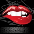 Vector red lip with teeth - 