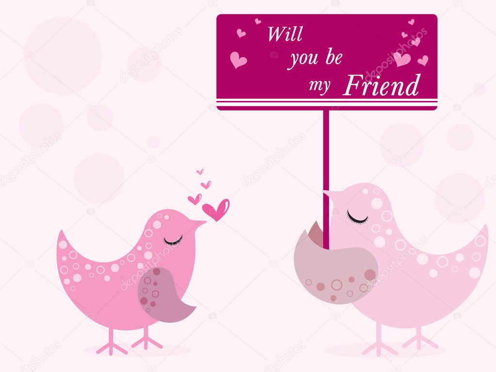 Happy friendship day background with pair of bird  Stock Vector #2631261