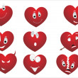 Stock Vector: Red heart making face with background