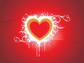 Czerwony fala tło z serca — Wektor stockowy