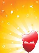 Coeurs rouges avec fond de rayons — Vecteur
