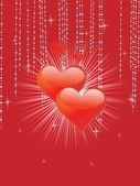 Decorated background with red heart — Vector de stock