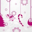 Stock Vector: Background with hanging xmas icons