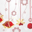 Hanging christmas icons with background - Stock Vector