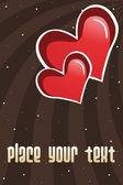 Romântica coração vermelho com fundo — Vetor de Stock