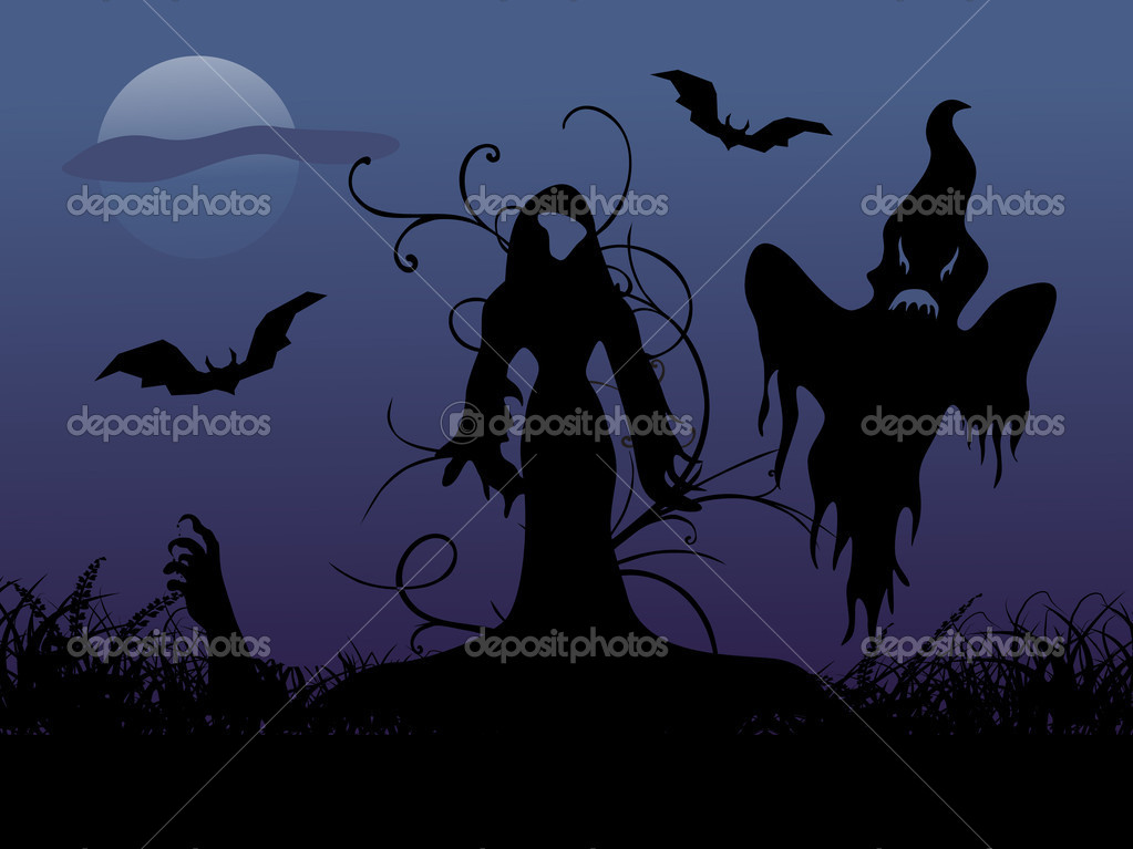 Ghost in the graveyard, wallpaper — Stock Vector #2671274