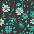 Background with birds and flowers — Imagen vectorial