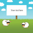 Background with sheeps — Stock Vector