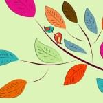ベクトルの背景の枝に鳥 — ストックベクタ