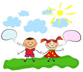 Glückliche kinder — Stockvektor