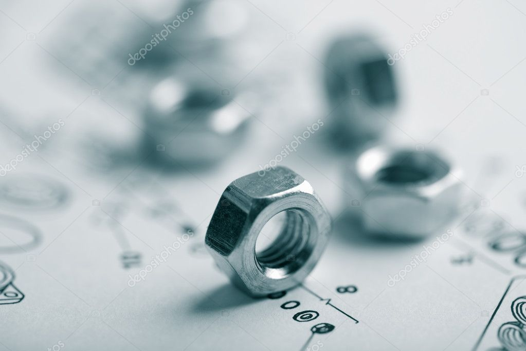 Nuts over technical drawing — Stock Photo #1468459