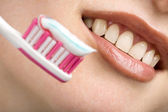 White smile and toothbrush — Stock Photo