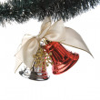 Red and white christmas bells isolated — Stock Photo