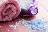 Herbal salt and towel — Stock Photo