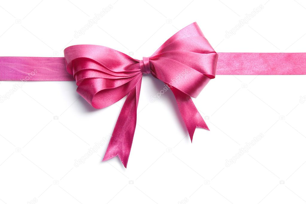 Pink ribbon with bow isolated  Photo #1787926