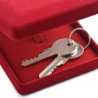 Keys in red gift box isolated — Stock Photo