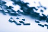 Blue puzzle pieces — Fotografia Stock