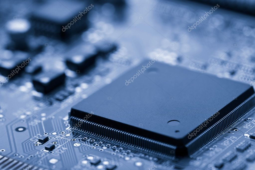 Electronic board toned blue — Stockfoto #1962472