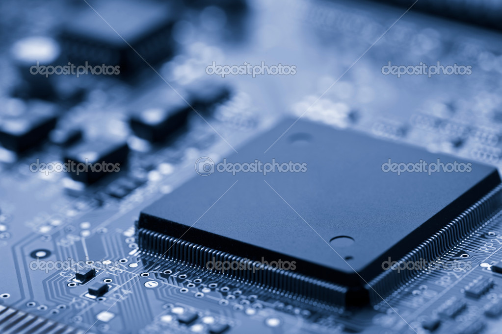 Electronic board toned blue  Foto Stock #1962472