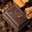 Pieces of chocolate and cinnamon - Stock Photo