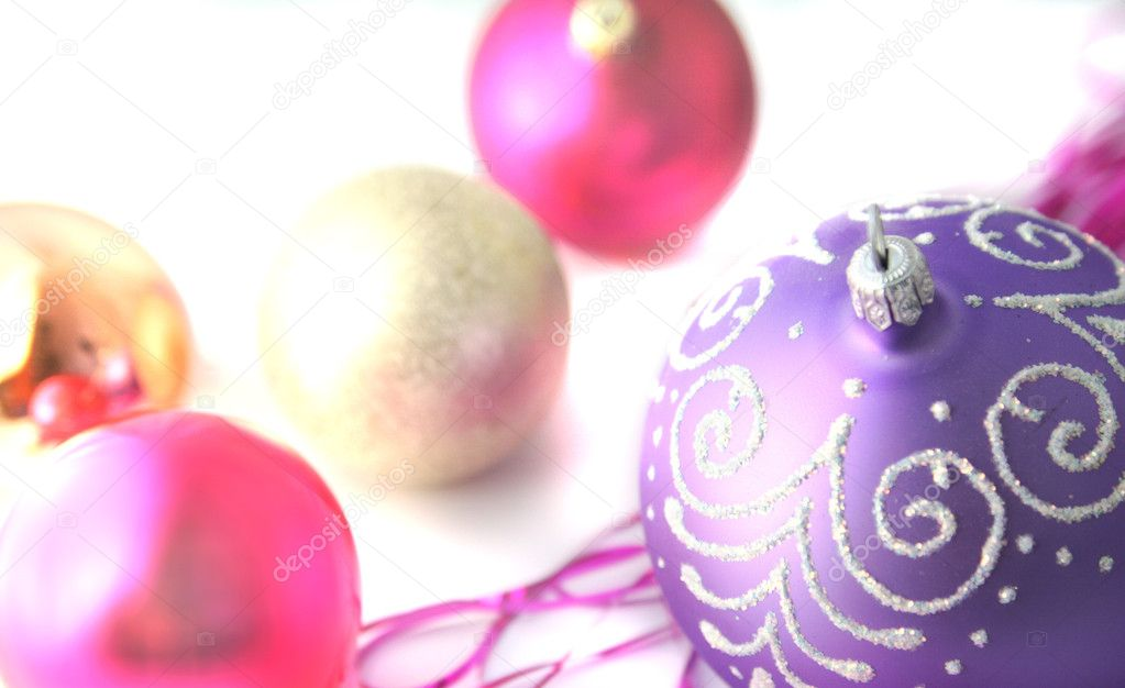 Background with a christmas-tree decoration of lilac color. — Stock Photo #1441943