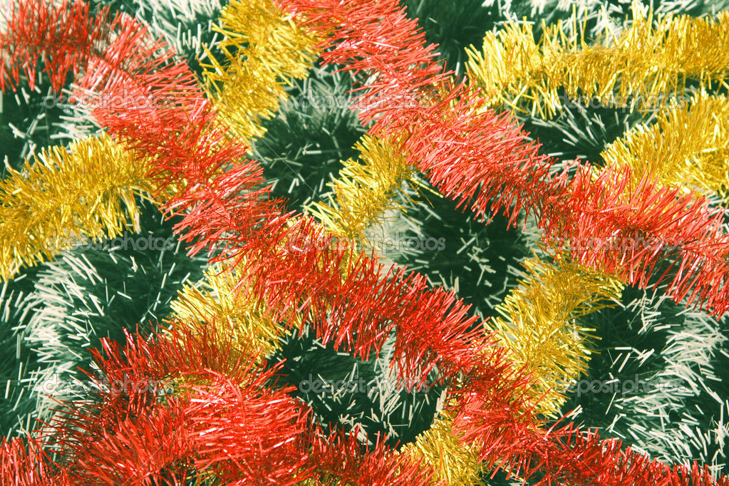 Background from a tinsel of red, yellow and green color.  Zdjcie stockowe #1442297