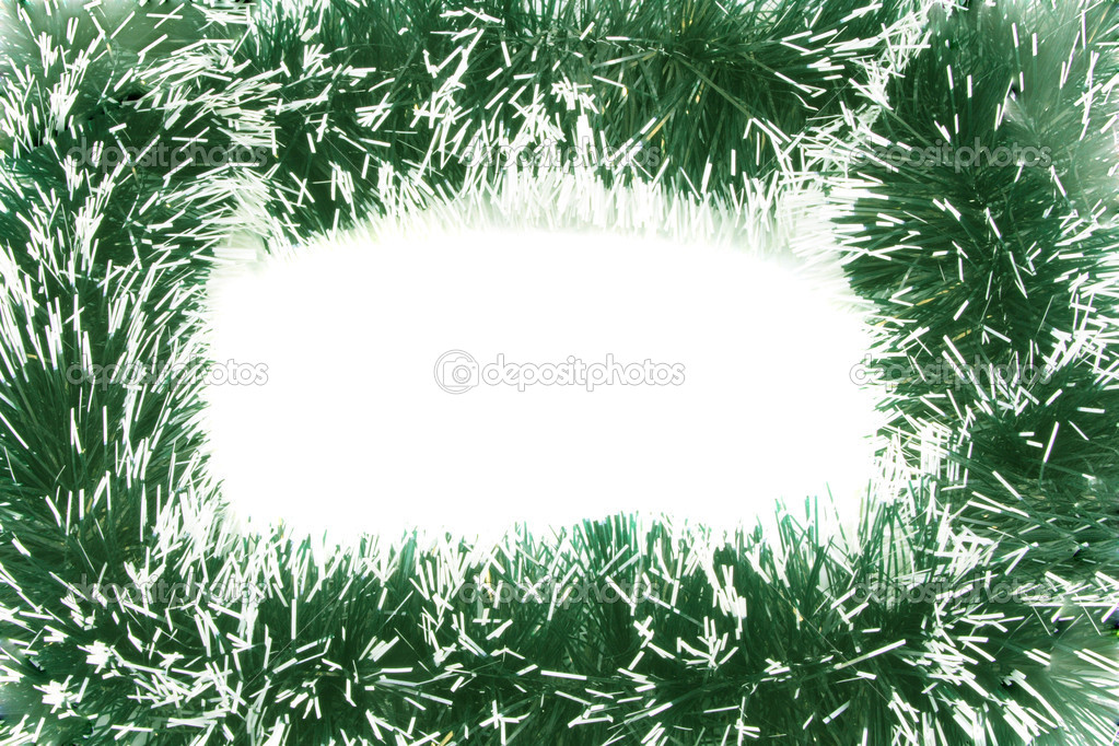 New Year's framework from a tinsel of green colour. — Stock Photo #1442311