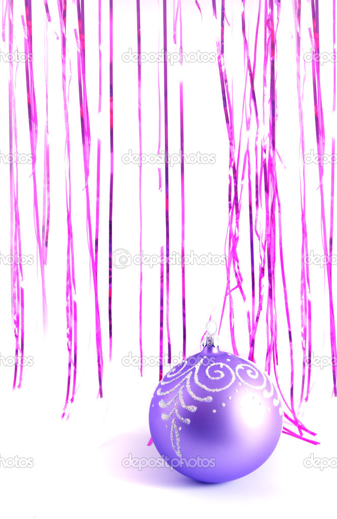 Background with a New Year's ornament and a tinsel of pink and lilac color. — Stock Photo #1443214