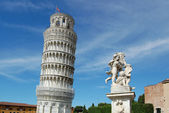 Famous leaning tower and angels — Stock Photo