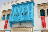 Traditional white-blue house. kairouan — Stock Photo