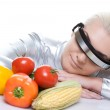 Cyber woman with different vegetables — Stock Photo #1420925