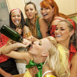 Happy women drinking champagne — Stock Photo