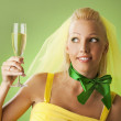 Bride with a glass of champagne — Stock Photo