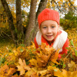 Beautiful little girl with autumn leaves — Stock Photo #1421180