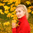 Beautiful young woman in autumn forest — Stock Photo