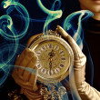 Stock Photo: Sepia picture of a beutiful girl with a clock (f