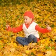 Beautiful little girl with autumn leaves — Stock Photo #1421320
