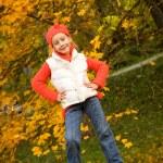Beautiful little girl having fun outdoor — Stock Photo