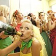 Happy women drinking champagne — Stock Photo #1421371