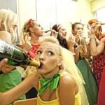 Happy women drinking champagne — Stock Photo #1421371