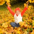 Foto Stock: Beautiful little girl with autumn leaves