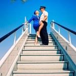 Cabin crew couple — Stock Photo