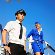 Picture of a cabin crew couple — Stock Photo
