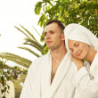 Young couple relaxing after bath — Stock Photo #1421668
