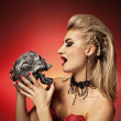 Witch with a scull — Stock Photo #1422005