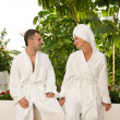 Young couple relaxing after bath — Stock Photo